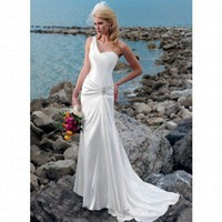 Beach One-Shoulde Ivory Satin Wedding Dress Style JD1389