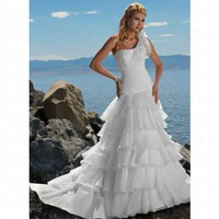 Beach One-Shoulde Ruffled Tiers Ivory Organza Wedding Dress Style JD1429