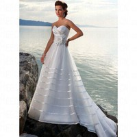 Beach Ballgown Sweetheart Ruched Bodice White Organza Wedding Dress Style RD1110