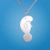 Happy Manatee Necklace by marymaryhandmade on Etsy