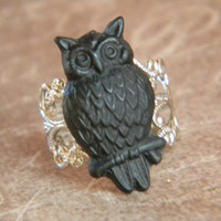 An owl came out and flew about Ring FREE SHIPPING by CreativeKates