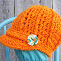 Newsboy Hat Retro Style  Bright Orange by SoLaynaInspirations