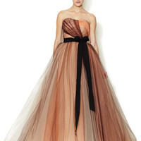Carolina Herrera Strapless Silk Tulle Full Skirt Gown