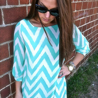 Mint Zig Zag Shift Dress | The Rage