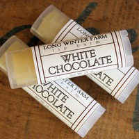 White Chocolate Lip Balm  One Tube Beeswax by LongWinterSoapCo