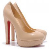 Christian Louboutin Bibi 140mm Leather Platform Pumps Nude
