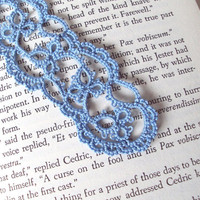 Blue Lace Bookmark in Tatting by TataniaRosa on Etsy