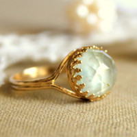 Prehnite crowen stunning elegant 14K GF ring with real by iloniti