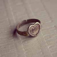 FREE SHIPPING Vintage Love Heart Ring Adjustable Antique by Amourx