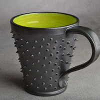 Spiky Mug Made To Order Black and Green by symmetricalpottery