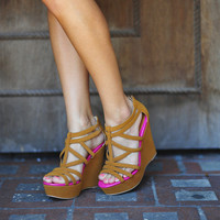 RESTOCK Australian Shore Wedges: Camel/Pink | Hope&#x27;s