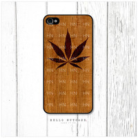 iPhone 4 and 4S case Pot Leaf on Wood
