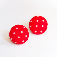 Red Polka Dots Earrings fabric covered button by AtelierYumi