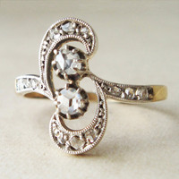 Antique Rose Cut Diamond Ring, Dramatic Victorian Flourish Shaped Diamond Ring, 18k Gold Rose Cut Diamond Ring, Approx Size US 8.25