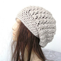 Crochet Hat - Slouch  Hat-  Crochet Beanie Hat  - Womens hat - chunky knit  beige oatmeal  Beanie  Fall Winter Accessories  Autumn Fashion