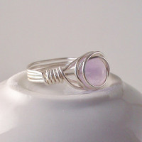 Amethyst Ring Silver Wire Wrapped Purple Free by TheSilverFindings