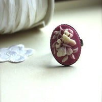 A Vintage Style Butterfly and Flower Ring  Sweet by Marolsha