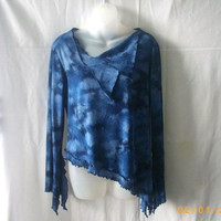 Blue size medium long-sleeved rayon asymmetrical top with draped neckline