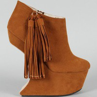 Bumper Qoors-22 Tassel Heel Less Curved Wedge Bootie