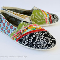 Tom&#x27;s Fabric Covered Shoes STYLE 2 by JageInACage on Etsy