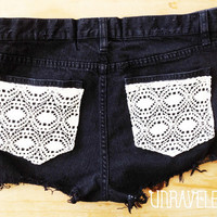 High Waisted Jeans Shorts, Lace Pockets (Size MEDIUM-LARGE)