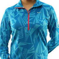 WOMEN 'S SMALL NIKE ELEMENT STAY WARM RUNNING JACQUARD 1/4 ZIP JACKET TOP AQUA