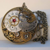 Steampunk Clockparts Pendant Necklace by steamheat on Etsy