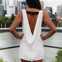 White Sleeveless Mini Dress with Open Plunge Drape Back