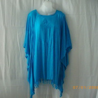 Bright blue rayon draped top - fits all sizes