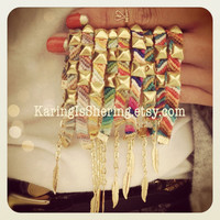Diagonal Studded Friendship Bracelets by KaringIsShering on Etsy