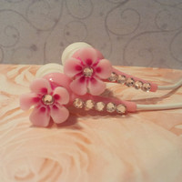 Pretty Hawaiian  Petal Flower Pink Earbuds With Swarovski Crystals