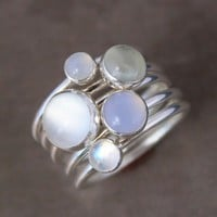 Luminous Stacking Rings Sterling Silver Gemstone by KiraFerrer