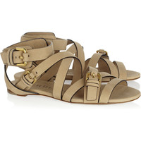 Burberry Shoes & Accessories | Flat buckled leather sandals | NET-A-PORTER.COM