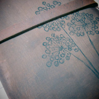 Leather journal or sketchbook featuring  free personalization dandelion