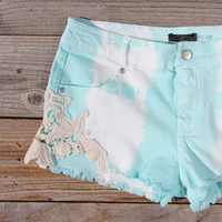 Tie Dye & Lace Shorts in Mint, Women's Sweet Bohemian Clothing
