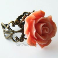 Ladies Rose Statement Ring, Cocktail Ring, Bridesmaid Ring,  Vintage Look Filigree Ring