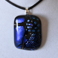 Blue dichroic fused glass necklace pendant by eyeseesage on Etsy