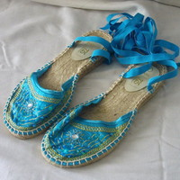 New blue size 7 shoes with ballet ribbons, embroidery, beads and sequins