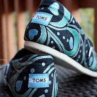 Womens - Blue Green Abstract Peacock Feather Custom TOMS