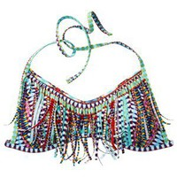 Xhilaration Junior&#x27;s Bandeau Swim Top w/ Fringe -Multicolor