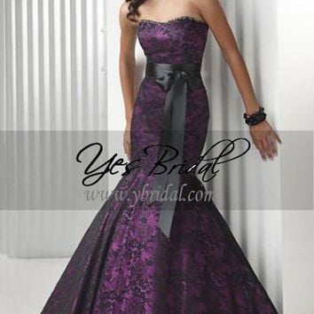 Sheath Strapless Floor-Length Lace and Satin Occasion Dress SSC0259