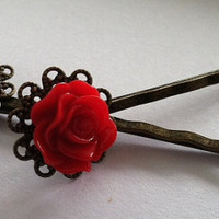 Beautiful antique bronze bobby pins with a by Peachykeenthings