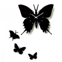 Art Butterfly Wood Wall Clock