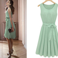 Vintage Style Light Green Sleeveless Belted Pleated Chiffon Dress from Merlow Avenue