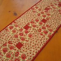 Quilted Table Runner Red and Tan Floral