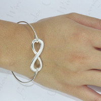 Infinity Bangle Bracelet, Silver Infinity Jewelry, Eternity Bangle, Silver Bracelet, Infinity Symbol Jewelry, Infinity Friendship Bracelet