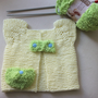 Hand Knitting Baby Vest / Pastel Yellow Baby  Vest With Green Pocket and Blue Button / 3 - 6 Months  / Ready to Shipping / Baby Shower Gifts