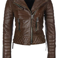 Vintage REAL Leather QUILTED Biker Rock Jacket Coat Bomber Rustic Brown