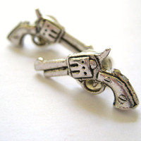 Silver Revolver Gun Earrings Stud Post Mens by SpotLightJewelry