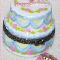 BIRTHDAY CAKE-Porcelain Hinged-Box....ONE CANDLE | eBay